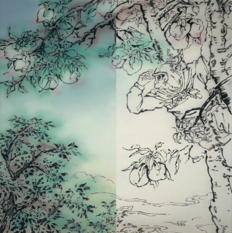 Monkey King on the peach tree (diptych)
